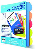 Divider Poly 5 Tab With Pockets Erasable