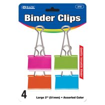 "Binder Clip Large 2"" Assorted Color 4 Pak"