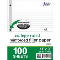 FILLER PAPER REINFORCED 100 SHEETS 8.5X11 COLLEGE RULED