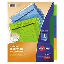 Avery Divider Big Tab Insertable Plastic 5 Pak