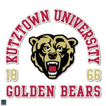 "3"" Kutztown University Arch Text Golden Bears with Bearhead Vinyl Decal"