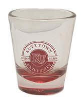 Neil Maroon Bottom Clear Shot Glass