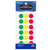 "LABELS ASSORTED COLOR 3/4"" ROUND LABELS 306 COUNT"